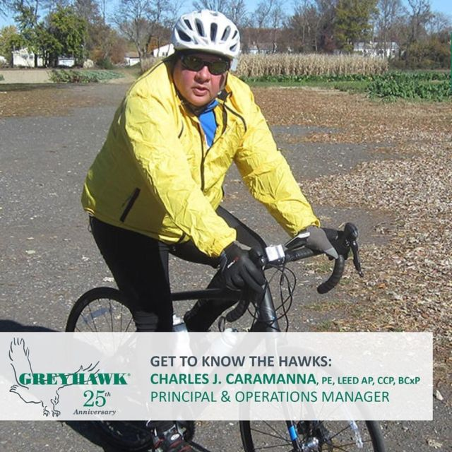 """This month ever say Happy 19th #HAWKiversary to Principal Charles Caramanna. Chaz has kept our projects """"coasting"""" along with his expert leadership in the office and in the community. Thanks for all you do for #TeamGREYHAWK and our clients! #25thanniversary #GettoknowtheHAWKs"""