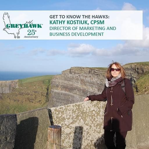 Happy 20th #HAWKiversary to Director of Marketing and Business Development Kathy Kostiuk. Thanks, Kathy, for all you do for #TeamGREYHAWK, our clients, and our business success! #25thanniversary #GettoknowtheHAWKs