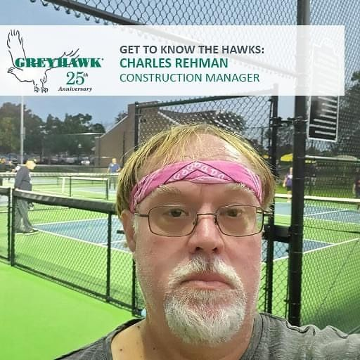 Join us in wishing a Happy 19th #HAWKiversary to Construction Manager Chuck Rehman. Although he's usually hard at work on job sites or in the office, here he's pictured on the pickleball court. We thank him for all he does for #TeamGREYHAWK, our clients, and our projects! #25thanniversary #GettoknowtheHAWKs